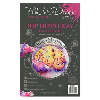 Pink Ink Designs HIP HIPPO RAY A5 Clear Stamps pi057
