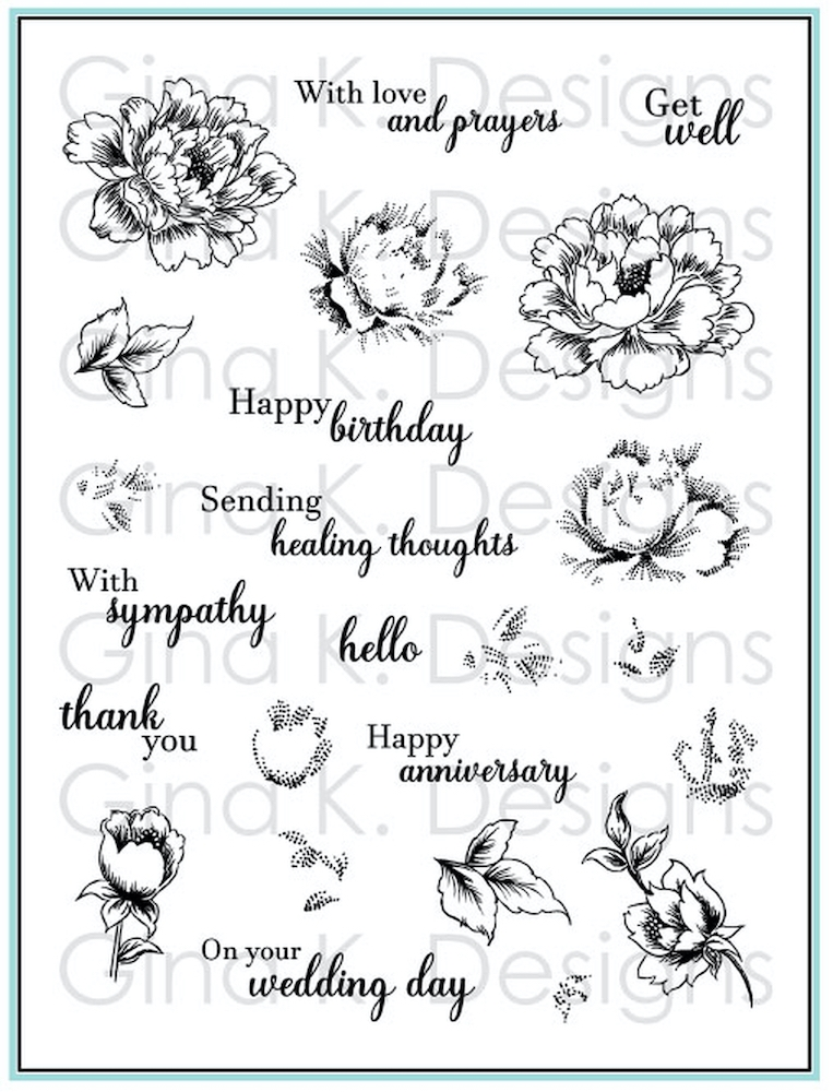 Gina K Designs STIPPLED FLOWERS Clear Stamps 4471 zoom image