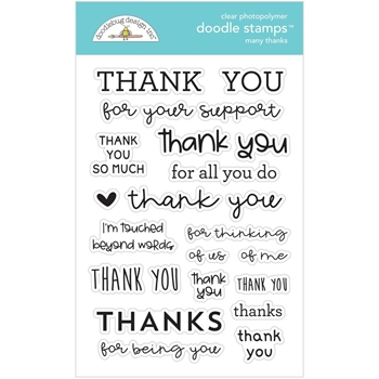 Doodlebug MANY THANKS Clear Stamps 6734
