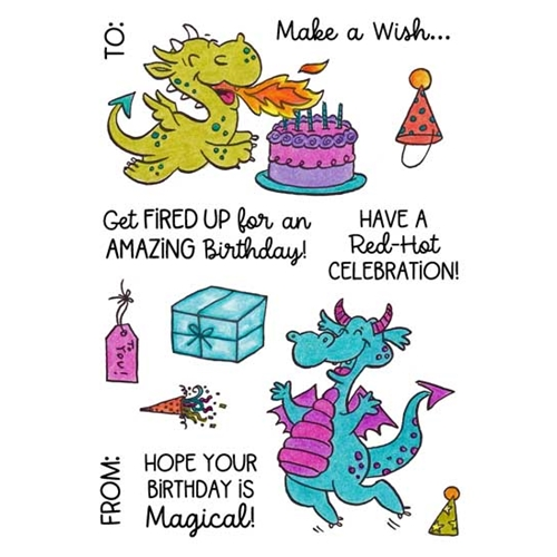 Inky Antics DRAGON BIRTHDAY Clear Stamp Set 11497mc Preview Image