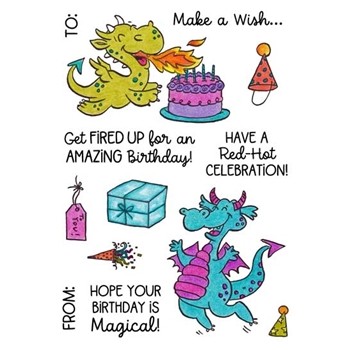 Inky Antics DRAGON BIRTHDAY Clear Stamp Set 11497mc