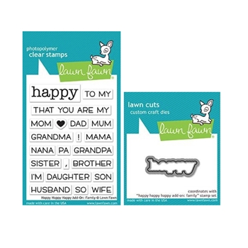 Lawn Fawn SET HAPPY HAPPY HAPPY ADD-ON: FAMILY Clear Stamps and Die lfhhhaf