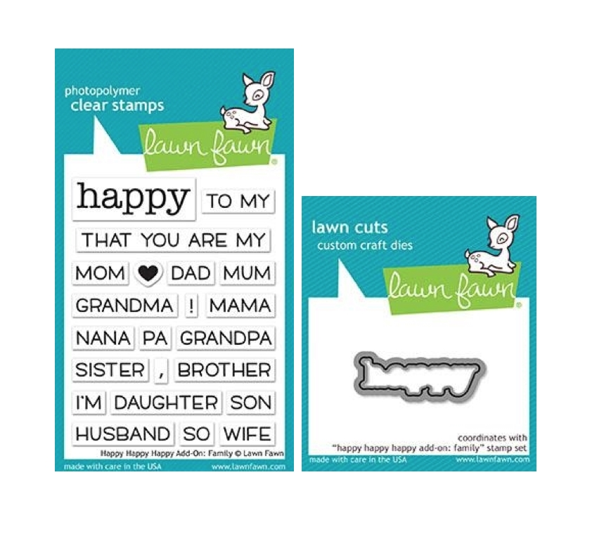 Lawn Fawn SET HAPPY HAPPY HAPPY ADD-ON: FAMILY Clear Stamps and Die lfhhhaf zoom image