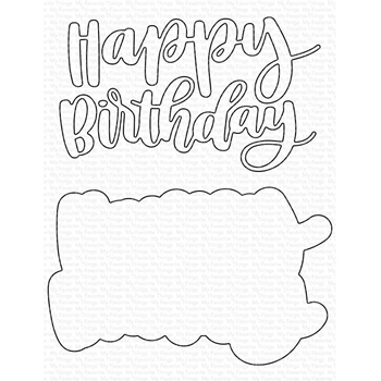 My Favorite Things HAND-LETTERED HAPPY BIRTHDAY Dies Die-Namics mft1724