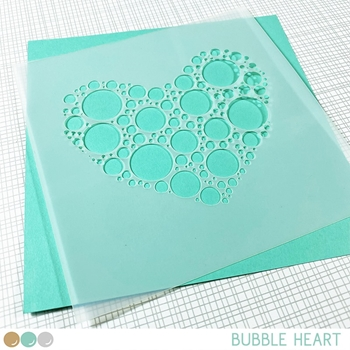 Create A Smile BUBBLE HEART 6x6 Stencil scs39