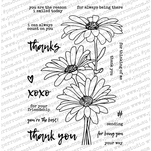Paper Rose Daisy Bouquet stamp