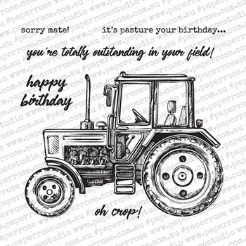 Paper Rose VINTAGE TRACTOR Clear Stamp Set 18605