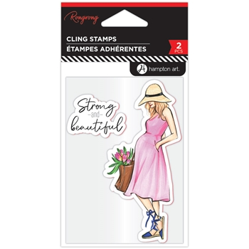 Hampton Art STRONG AND BEAUTIFUL Cling Stamps ic0387