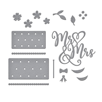 S4-1058 Spellbinders MR. AND MRS. WEDDING CAKE Etched Dies