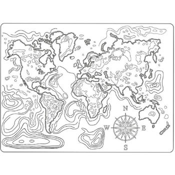 Stamperia MAP OF THE WORLD A5 Texture Impression Mold k3pta544