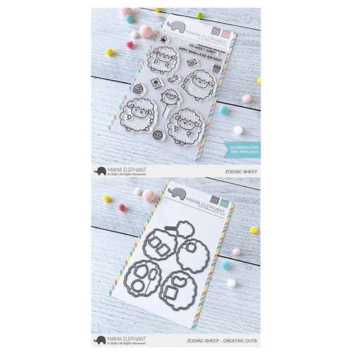 Mama Elephant Clear Stamp and Die MEPT752 Zodiac Sheep SET* Preview Image