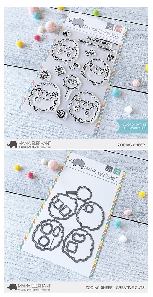 Mama Elephant Clear Stamp and Die MEPT752 Zodiac Sheep SET zoom image