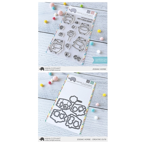 Mama Elephant Clear Stamp and Die MEPT755 Zodiac Horse SET Preview Image
