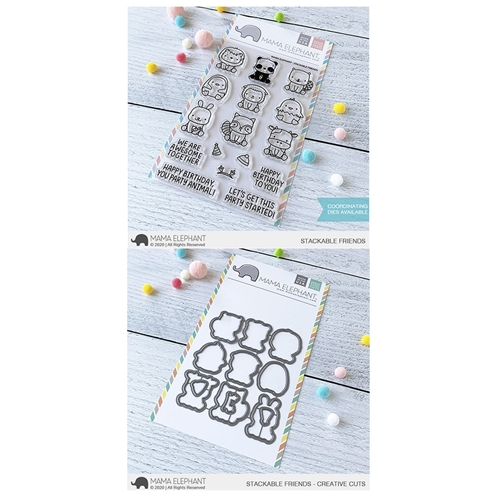 Mama Elephant Clear Stamp and Die MEPT758 Stackable Friends SET Preview Image