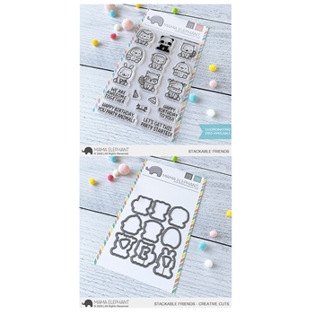 Mama Elephant Clear Stamp and Die MEPT758 Stackable Friends SET