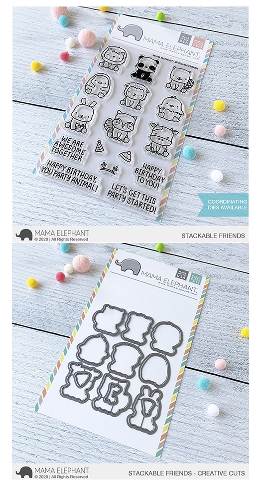 Mama Elephant Clear Stamp and Die MEPT758 Stackable Friends SET zoom image