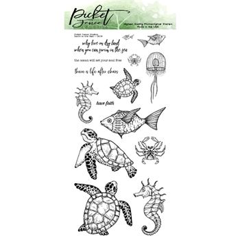 Picket Fence Studios SWIM IN THE SEA Clear Stamp Set oc111