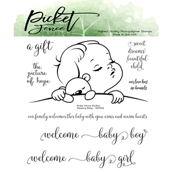 Picket Fence Studios SLEEPING BABY Clear Stamp Set kids104