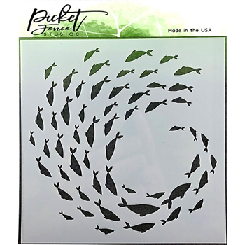 Picket Fence Studios CURRENT OF FISH 6x6 Stencil sc129
