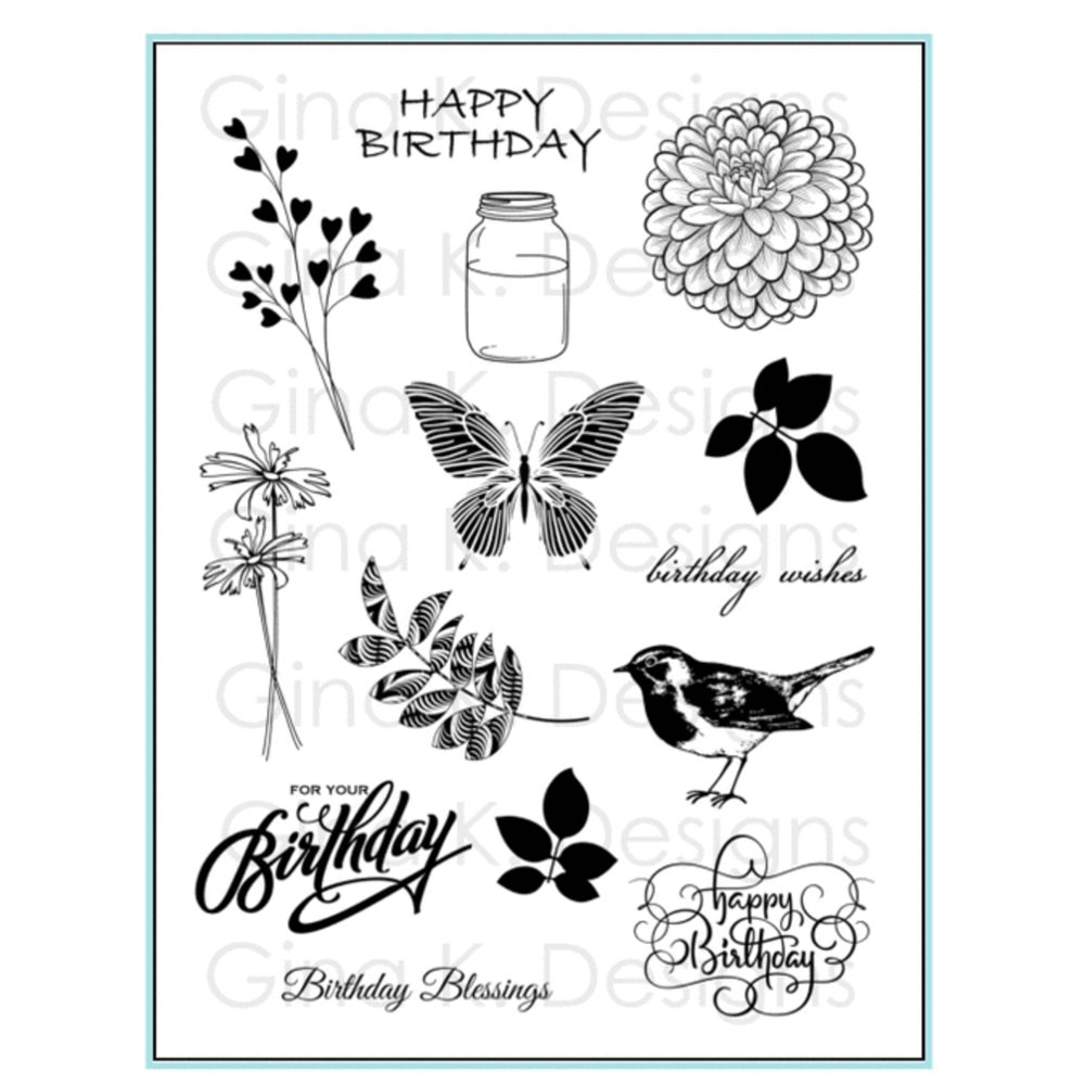Gina K Designs BIRTHDAY BLESSINGS Clear Stamps 0465 zoom image