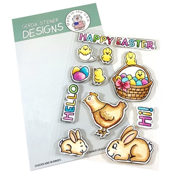 Gerda Steiner Designs CHICKS AND BUNNIES Clear Stamp Set gsd722*