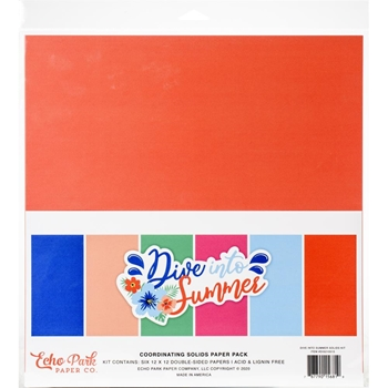 Echo Park DIVE INTO SUMMER 12 x 12 Solids Paper Pack dis210015