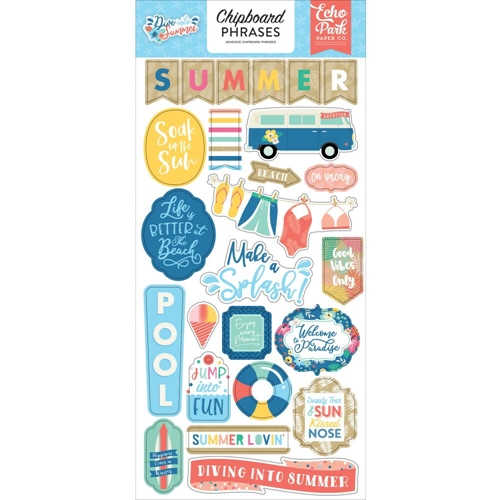 Echo Park DIVE INTO SUMMER Chipboard Phrases dis210022 Preview Image