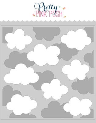 Pretty Pink Posh LAYERED CLOUDS Stencils  Preview Image