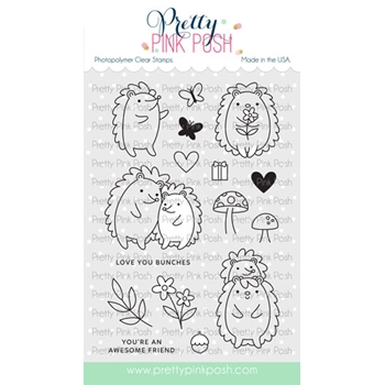Pretty Pink Posh HEDGEHOG FRIENDS Clear Stamps