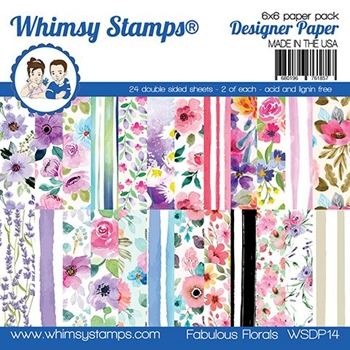 Whimsy Stamps FABULOUS FLORALS 6 x 6 Paper Pad WSDP14