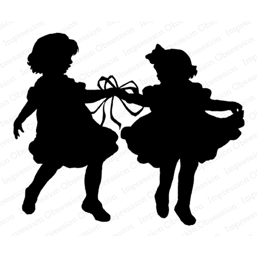 Impression Obsession Cling Stamp RIBBON DANCE SILHOUETTE F13851 Preview Image