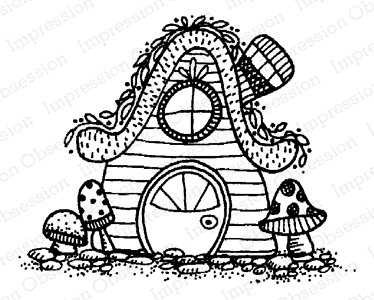 Impression Obsession Cling Stamp FAIRY COTTAGE D12163 Preview Image