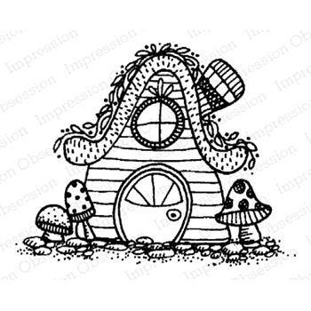 Impression Obsession Cling Stamp FAIRY COTTAGE D12163