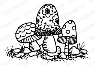 Impression Obsession Cling Stamp FAIRY STOOLS C12165