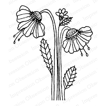 Impression Obsession Cling Stamp FAIRY FLOWERS D12172