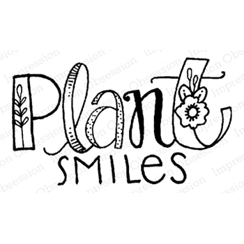 Impression Obsession Cling Stamp PLANT SMILES D12179
