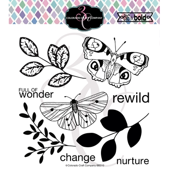 Colorado Craft Company Big and Bold BLISSFUL BUTTERFLIES Clear Stamps BB310