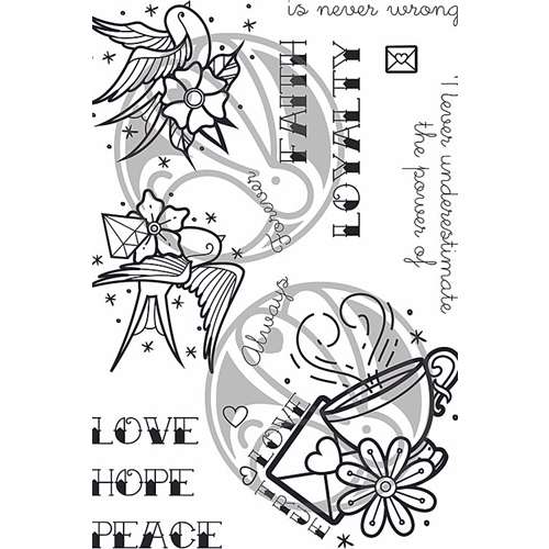 The Rabbit Hole Designs OLD SCHOOL TATTOO AFFIRMATION  Clear Stamps TRH-65 Preview Image