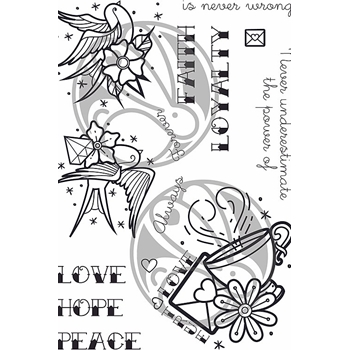 The Rabbit Hole Designs OLD SCHOOL TATTOO AFFIRMATION  Clear Stamps TRH-65