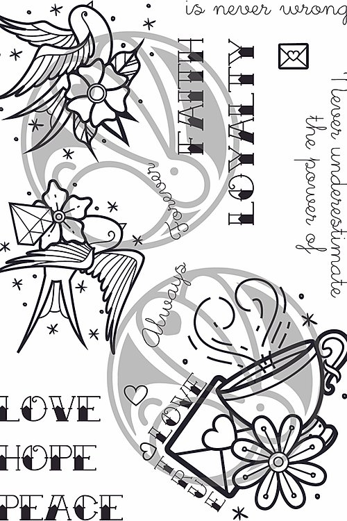 The Rabbit Hole Designs OLD SCHOOL TATTOO AFFIRMATION  Clear Stamps TRH-65 zoom image