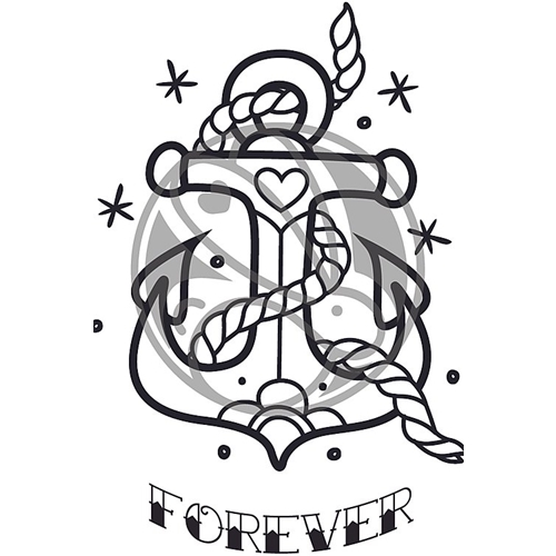 The Rabbit Hole Designs OLD SCHOOL TATTOO ANCHOR Clear Stamps TRH-64 Preview Image