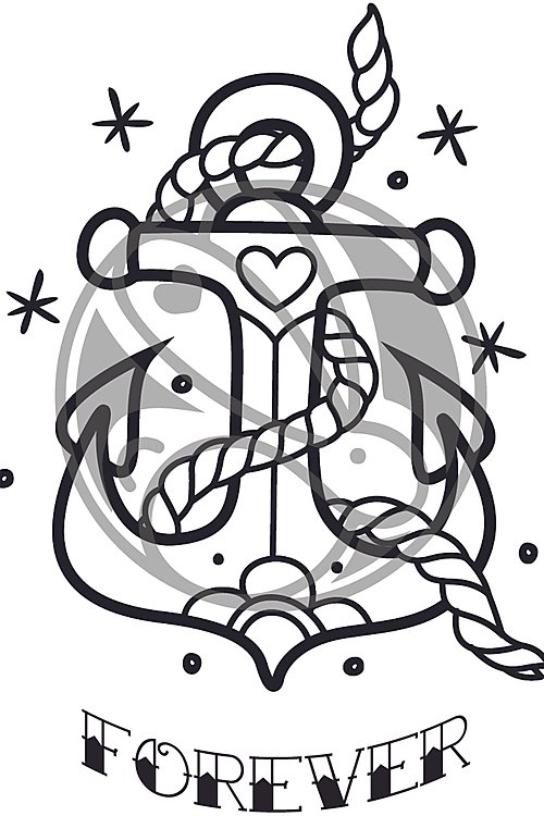 The Rabbit Hole Designs OLD SCHOOL TATTOO ANCHOR Clear Stamps TRH-64 zoom image
