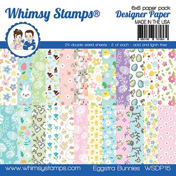Whimsy Stamps EGGSTRA BUNNIES 6 x 6 Paper Pad WSDP15