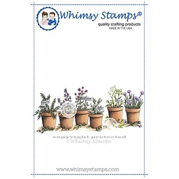 Whimsy Stamps HERBS IN POTTERY Cling Stamp DA1140