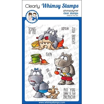 Whimsy Stamps HIPPO FUN IN THE SUN Clear Stamps DP1043