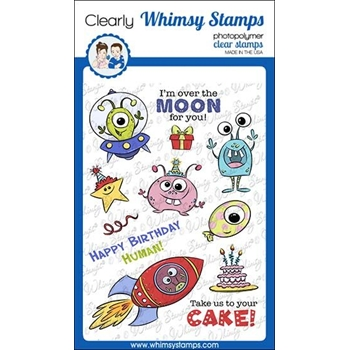 Whimsy Stamps OVER THE MOON Clear Stamps KHB159