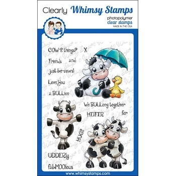 Whimsy Stamps COW FRIENDS Clear Stamps C1356