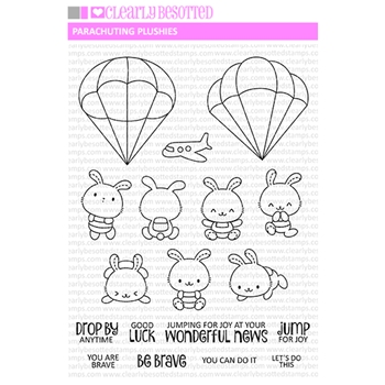 Clearly Besotted PARACHUTING PLUSHES Clear Stamps