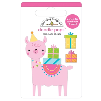 Doodlebug PARTY LLAMA Doodle Pops 3D Stickers 6633