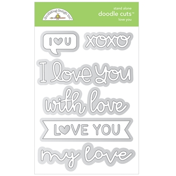 Doodlebug LOVE YOU Stand Alone Doodle Cuts Die Set 6742